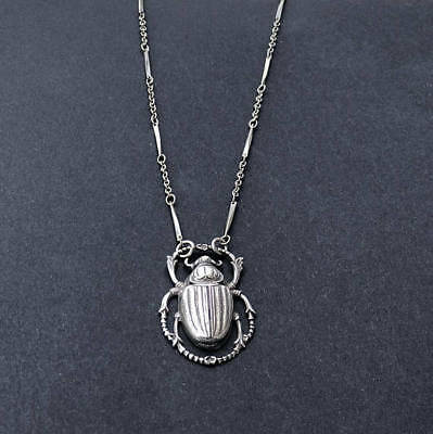 Egyptian Scarab Pendant Sterling Silver Scarab Pendant Ancient Egyptian Necklace