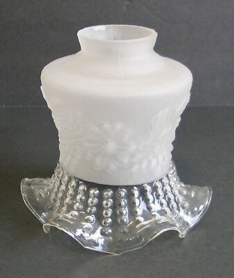 Vintage Tulip Glass Lamp Shade Fixture Frosted Ruffle Floral Victorian White
