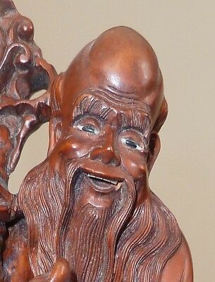 ANTIQUE CARVED BOXWOOD FIGURE OF SHOU-XING:  Chinese Old Age God