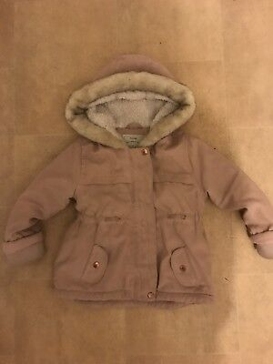 Girls Parka Coat Salmon Pink Age 18-24 Months