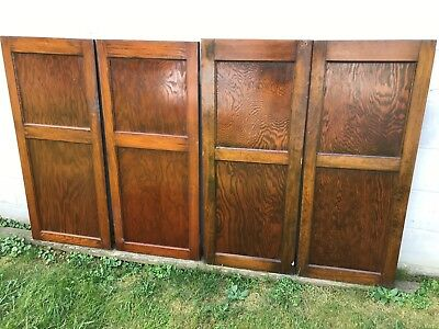 2 pair (4) ANTIQUE PINE WOOD 2 FLAT PANEL CUPBOARD CABINET PANTRY DOORS