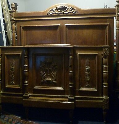 Heavily Carved, French Oak, Double Bedhead & Foot with Side Rails