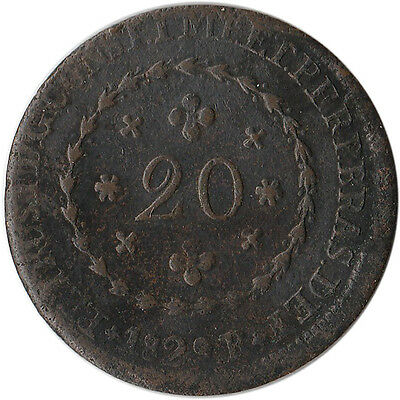1829 Brazil 20 Reis Coin Not Counterstamped KM#360.1