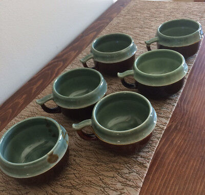 "Set of Six Red Wing Pottery Village Green Cups Mugs Unmarked 2 1/2"" Tall"