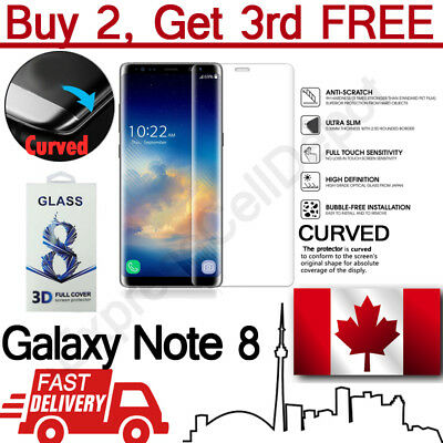 Full Cover Curved Tempered Glass Screen Protector for Samsung Galaxy Note 8