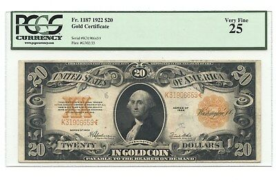 1922 $20 Gold Certificate, Fr. 1187, PCGS Very Fine 25, GREAT COLOR!!