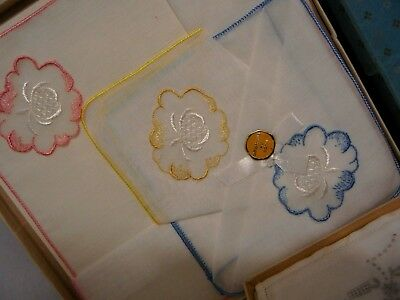 Vintage Swiss Cotton Embroidered Lady's Handkerchief Boxed X 6 ( 2 Boxes Of 3)
