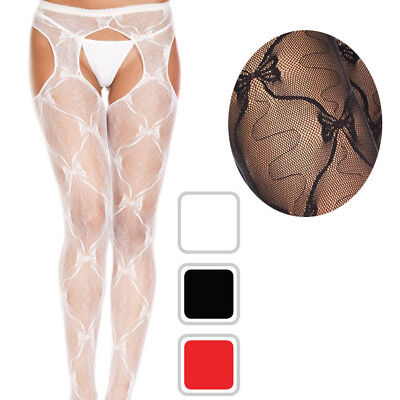 Sheer Bow Nylon Suspender Faux Garter Belt Crotchless Pantyhose Tights 3 Colors