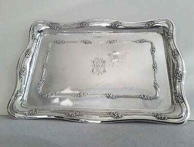 Attractive Shaped Antique Solid Silver Dressing Tray.        Sheffield.1914.