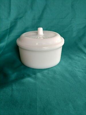 Vintage White Glass Grease Pot with Lid