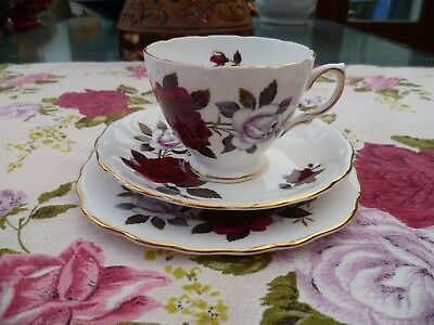 Lovely Vintage Colclough China Trio Tea Cup Saucer Red & White Roses 7906