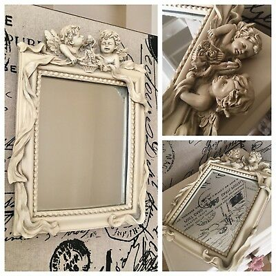 Original. Small Vintage Mirror With 2 Angels (free postage)