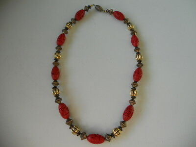 Vintage Oriental Carved Cinnabar Bead and Yellow Metal Necklace. Free UK  P&P.