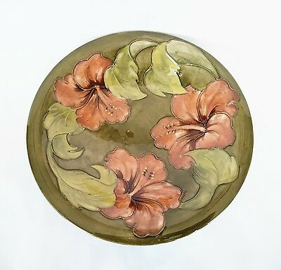 """Vintage Moorcroft Green and Peach Hibiscus Floral Design Bowl 9.75"""""""