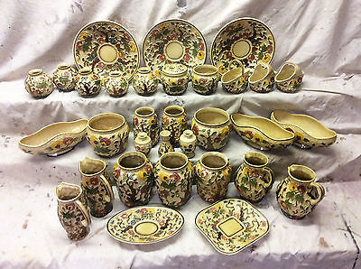 INDIAN TREE / VINTAGE H. J. WOOD STAFFORDSHIRE 28 PIECE COLLECTION / n