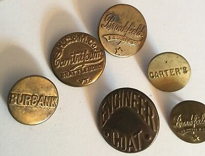 Lot 6 Antique Verbal Work Clothes Buttons Old Variety