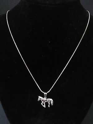 """Sterling Silver 925 Horse Pendant Necklace 17"""" Chain Equestrian"""