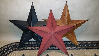 "3 Mixed 12"" Metal Barn Stars, Rusty, Burgundy & Black ,Primitive, Farmhouse"