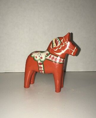 "VTG Swedish Red wooden Akta Dala horse 4"" hand painted G A Olsson folk art"