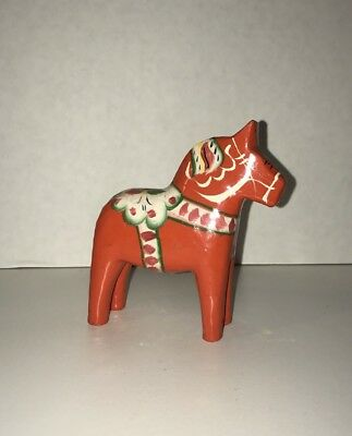 "VTG Swedish Red wooden Akta Dala horse 8"" hand painted G A Olsson folk art"
