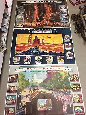 Vintage Our America Posters Set Of 3 By Coca Cola Lumber, Steel, Motion Picture
