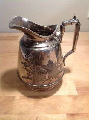 Vintage Meridan Quadruple Plate 1800 5 1/2 Inch Silver Plated Etched Pitcher