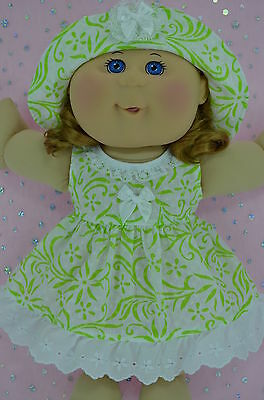 "Play n Wear Doll Clothes For 14"" Cabbage Patch WHITE/LIME FLOWER DRESS~HAT"