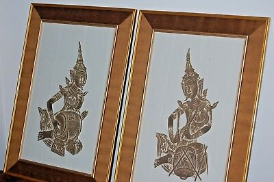 Pair of vintage Thai temple etchings - hand made paper-raw silk mount & frame.