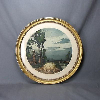 French Antique Aquatinte Etching in Round Frame signed Louis Klauphin 19 th