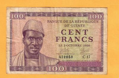 Guinea 100 Francs 1958; FINE; P-7; ; Woman & baby;Printed in Czechoslovakia