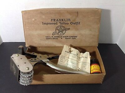 Vintage Franklin Improved Rotary Tattoo Outfit In Original Box Cattle