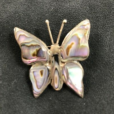 Vintage Butterfly Pin Brooch Mother of Pearl & Silver Made in Mexico