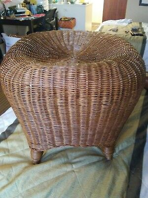 Vintage Wicker Bamboo Ottoman Footstool Side Table Sitting Decorative Chair EUC
