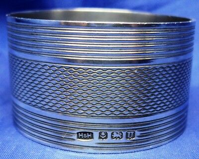 Heavy Solid Silver Round Engine Turned Napkin Ring By Hukin & Heath B'ham 1944