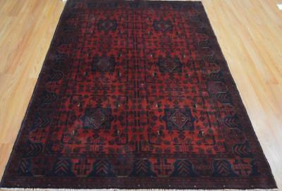 4'2 x 6'3 Top Quality Afghani Turkmen Khal Mohammadi Hand Knotted Wool Area Rug