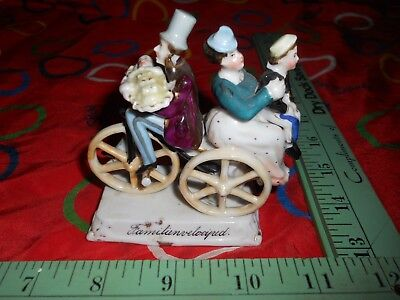 Antique Porcelain Fairing Familien Velociped Family Bicycle Rare 1870's