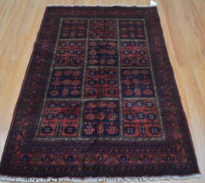 3'2 x 5 Finest Quality Afghani Turkmen Khal Mohammadi Hand Knotted Wool Area Rug