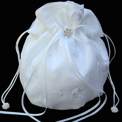 White Satin Money Bag, Bridal Wedding Money Bag with crystals
