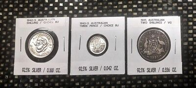 Lot Of Three Nice Australian Coins : Two Are Rare In Bu Condition
