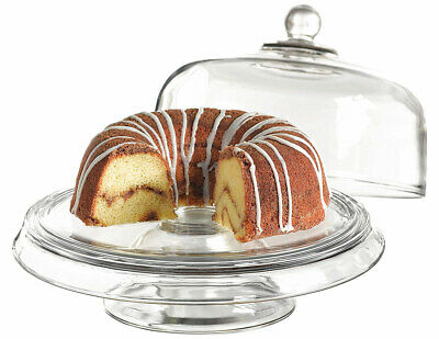 Anchor Hocking Presence 4-in-1 Cake Plate and Dome Stand Set, Clear