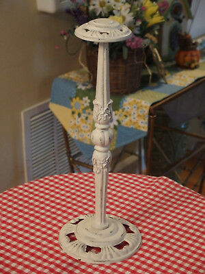 """White Wash Architectural Salvage Cast Iron made HAT/WIG STAND 15"""" TALL Pre-Own"""