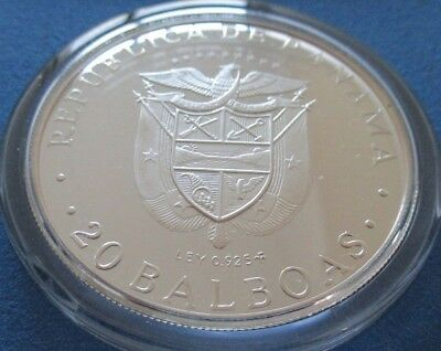 1974 Republica de Panama proof 925 silver 20 Balboas coin in a capsule and a box