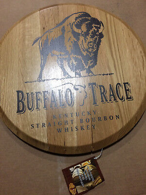 Rare Buffalo Trace Pure Wood Round Barrel Head Sign New With Free Shipping