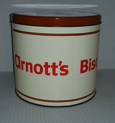 ARNOTTS GROCER empty biscuit tin 700g assorted biscuits Use By date March 1990