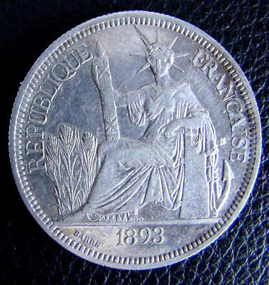 1893 A French Indo-China Silver Piastre - KM# 5 Vietnam - XF