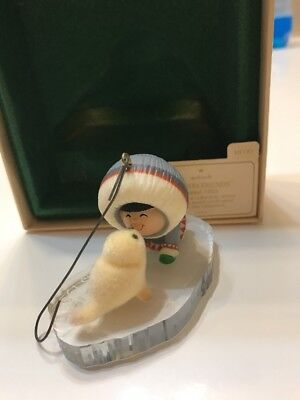 Hallmark Frosty Friends Ornament Dated 1983 Fourth In Series Kissing Seal-Eskimo