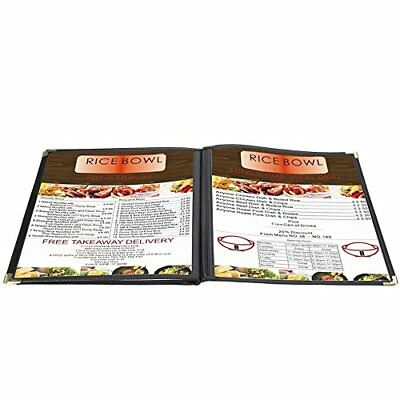 menu cover 8.5x11 inch black triple fold book style holder with 3 page 6 view