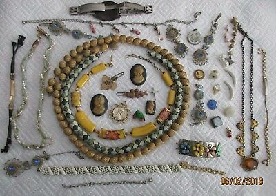 40 pc lot of Vintage Jewelry Pieces for Repair, Salvage, Crafting 1H