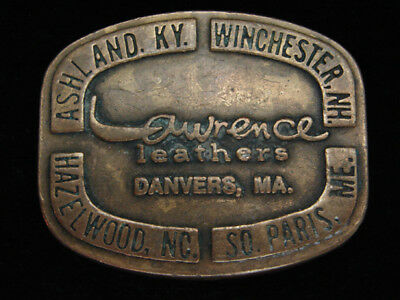 PH01117 VINTAGE 1970s **LAWRENCE LEATHERS** COMPANY SOLID BRASS BELT BUCKLE