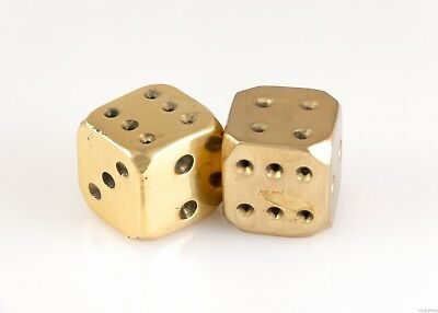 "Pair of Antique Vintage Large Heavy Solid Brass 1"" Inch Dice Golden Gambling Die"